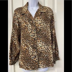 ALLISON DALEY CHEETAH PRINT BLOUSE SIZE 14 P